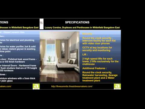 Luxury Condos, Duplexes and Penthouses in Whitefield Bangalore East