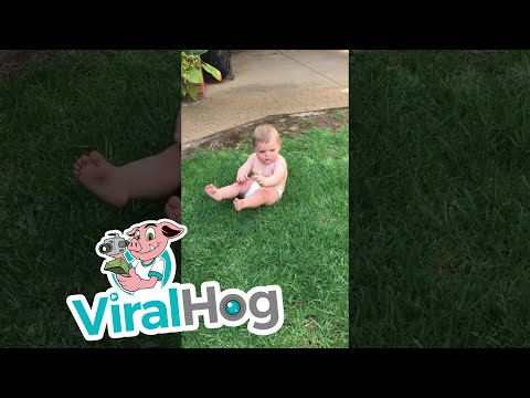 Cute Baby Hates Sitting on Grass || ViralHog