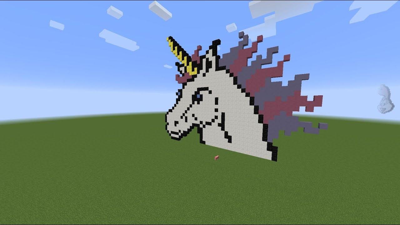 Minecraft PIxel art: Licorne par TRD Fr - YouTube