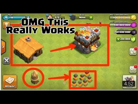HACK  GEMMING WALLS AND TOWNHALL LEV 1 TO MAX    Clash Of Clans  OMG TH MAX IN 5 MIN