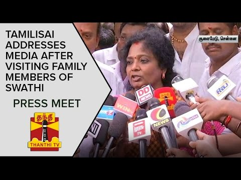 Tamilisai addresses Media after visiting Family Members of Murdered Infosys Employee Swathi