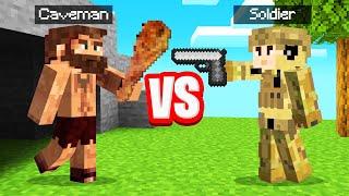 CAVEMAN vs. SOLDIER In MINECRAFT! (Evolution Mod)