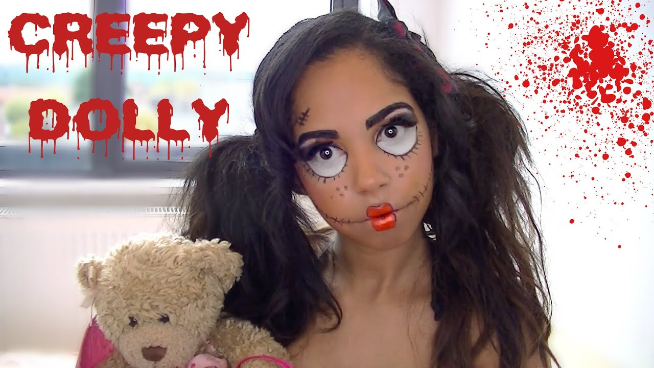 Easy Creepy Halloween Doll Makeup tutorial | Racquel Stewart - YouTube