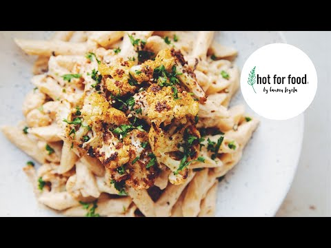 roasted cauliflower alfredo penne pasta | hot for food