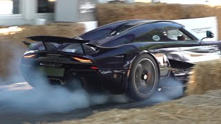 Koenigsegg Regera driving FAST at Festival of Speed! - Burnout, Accelerations & Fly Bys!