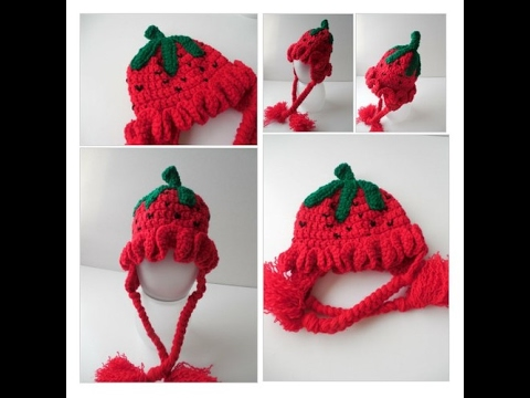 Strawberry Baby Hat - Ear Flap Hat - Crochet Red Strawberry - YouTube