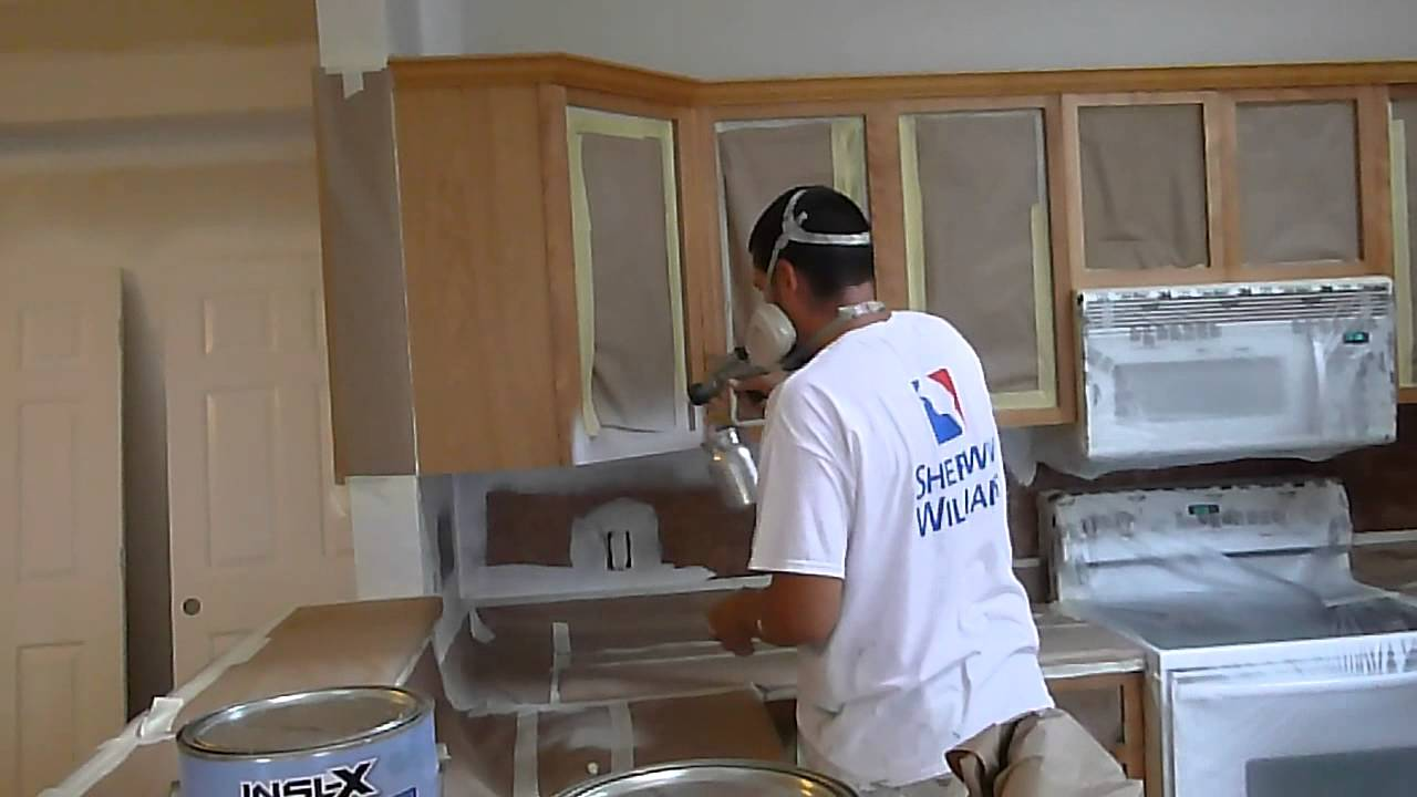Cabinet painting refinishing and painting how to using for Acrylic paint for kitchen cabinets
