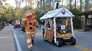 Disney's Fort Wilderness Christmas Golf Cart Parade With Donald Duck; Sleigh Ride And Wagon Carolers