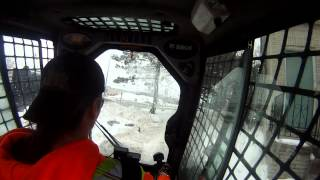 Me Doing Snow Relocation in a T180 Tracked Loader Feb/20th/2014