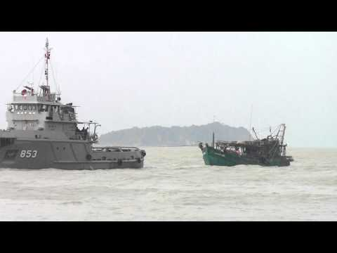 illegal fishing boat caught by Thai Authority, Songkhla, Thailand.