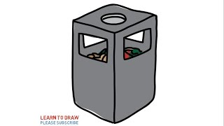 Easy Step For Kids How To Draw a Trash Can