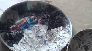 Тарелка в технике папье маше :)