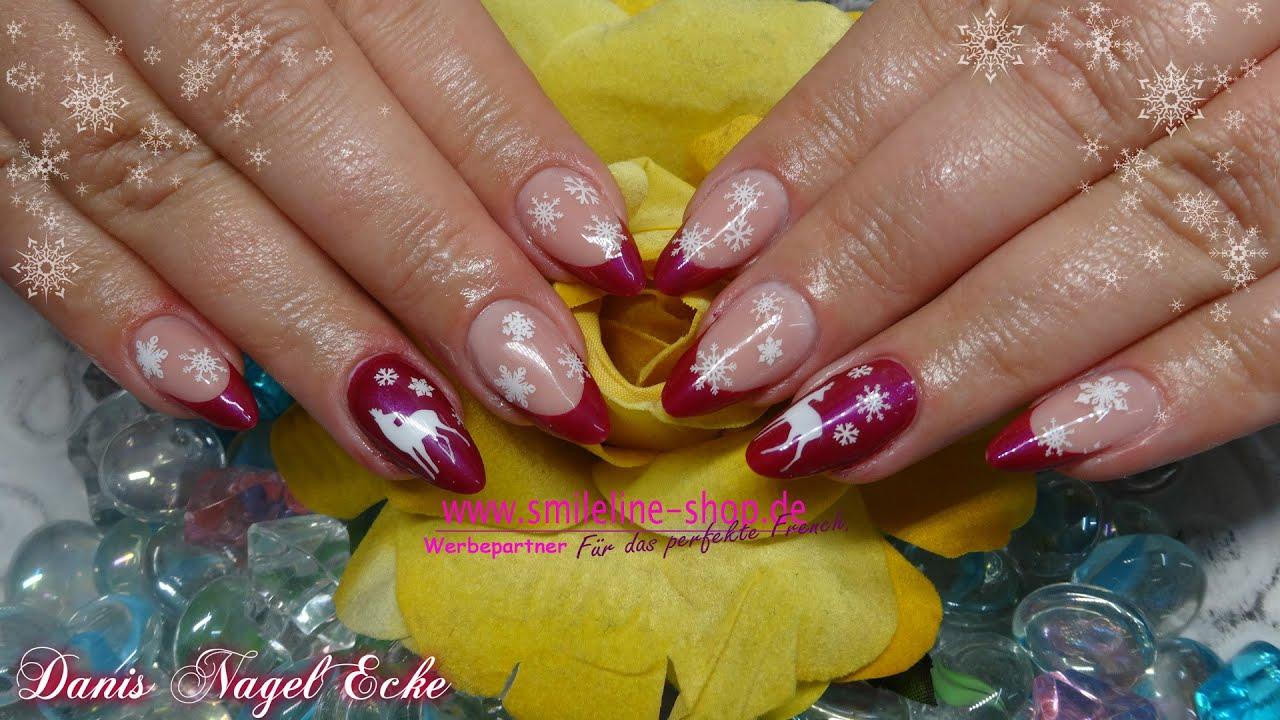 Gelnägel Mandel Winter // Winter Almond nails - YouTube