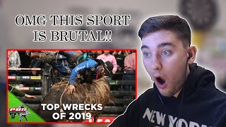 British Guy FIRST TIME Reaction to Bull Riding! - Top Wrecks of 2019!