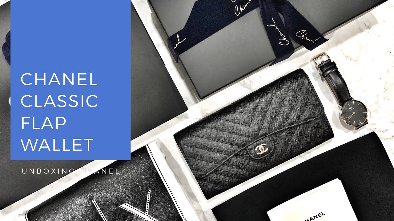 388cfcf28e89 Unboxing Chanel Classic Flap Leather Wallet - YouTube