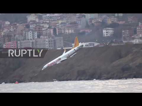 Turkey: Plane on cliff edge after it skids off runway with 162 passengers