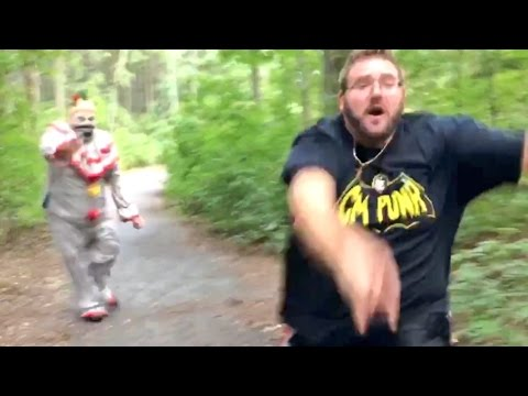 CREEPY CLOWNS SHOOT AT FAT MAN IN THE WOODS!