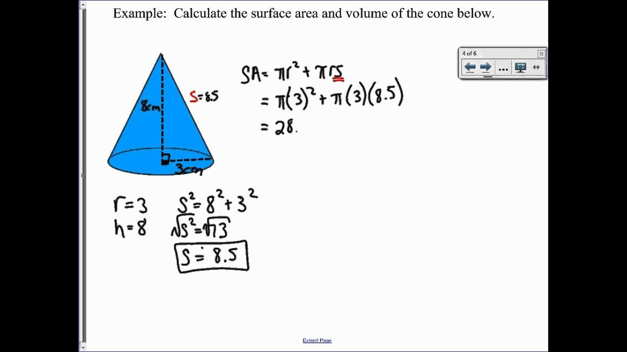 Volume and surface area of a cone youtube ccuart Choice Image