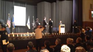 Evan Getting Badge at Milwaukee Police Academy