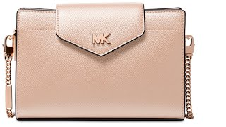MICHAEL KORS Crossgrain Leather Crossbody Clutch | Soft Pink | Unboxing