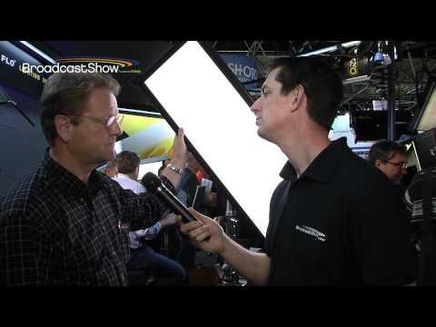 Lighting cameraman Jonathan Harrison shows the Celeb 400 and Tegra on the Kino Flo stand at IBC 2013