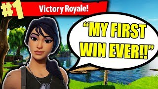 HELPING AWESOME KID WIN *FIRST EVER* GAME IN FORTNITE BATTLE ROYALE!!!!
