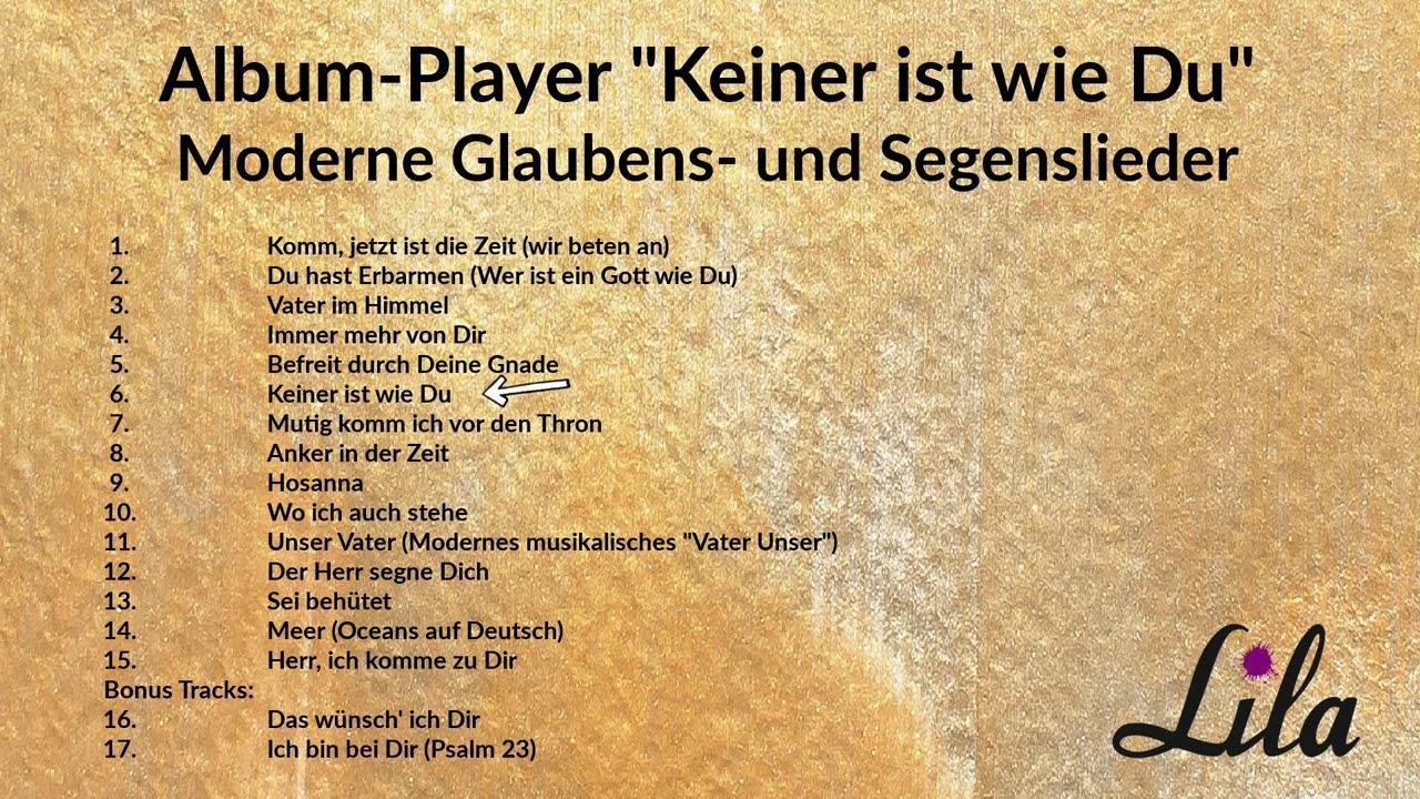"""Album-Player der CD """"Keiner ist wie Du"""" - Moderne Glaubens- und Segenslieder"""