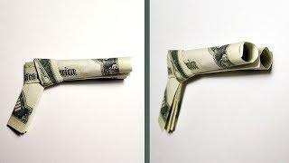Gift for men | Money DOUBLE BARREL PISTOL Origami Dollar Tutorial DIY