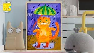 Как нарисовать кота - урок  рисования  для детей 4-7 лет. Дети рисуют котика поэтапно