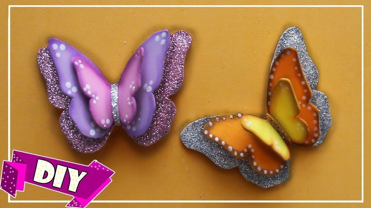 Como hacer mariposas tridimensionales en goma eva foam - Como hacer mariposas de goma eva ...