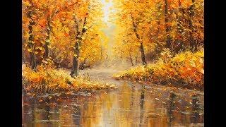 """Картина """"Золотая осень"""". Живопись мастихином."""