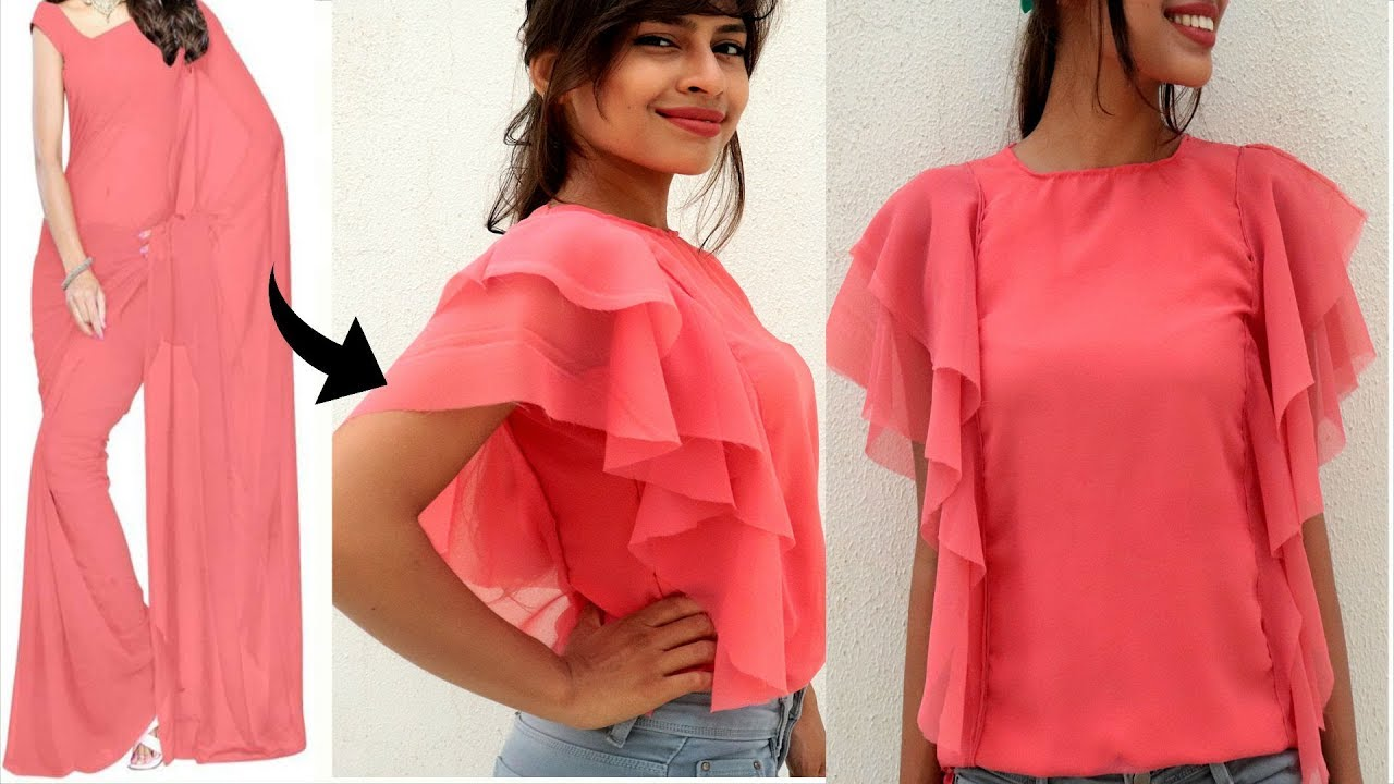 6606908d2b6a89 Convert Old Saree into DOUBLE Layer Long RUFLLE Sleeves Top | Diy Most  Easiest Top