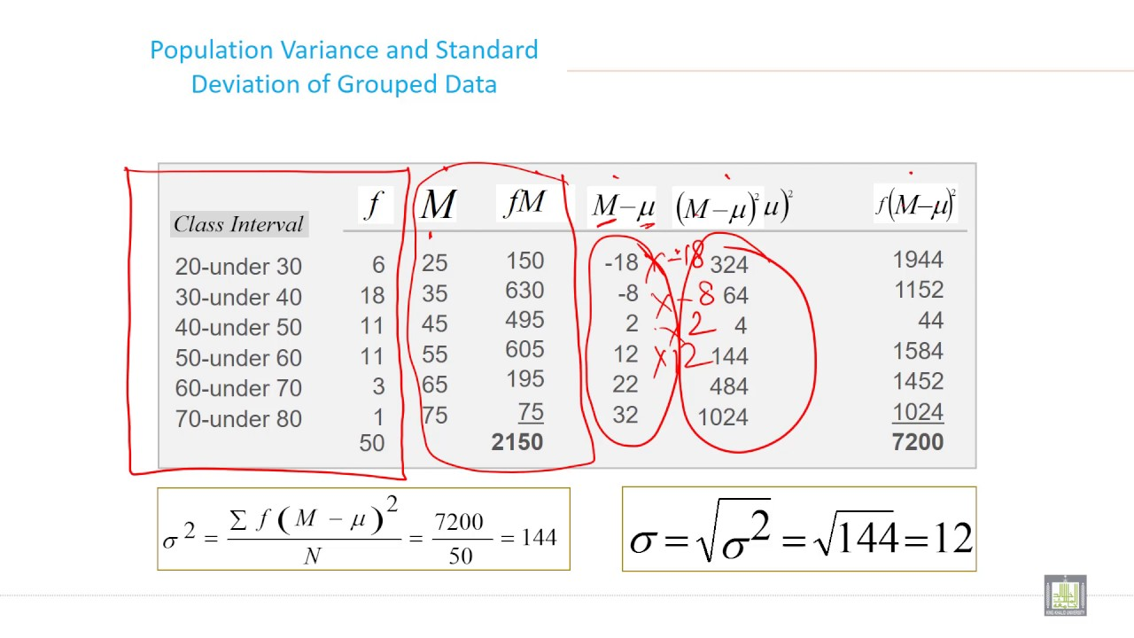 calculation of standard deviation and variance relationship