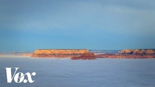 The Grand Canyon filling with fog – and why – in 60 seconds