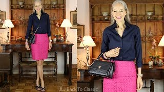 OOTD/Over 50: Preppy Pink Pencil Skirt, Navy Shirt; Skirt-Length Chat / Classic Fashion