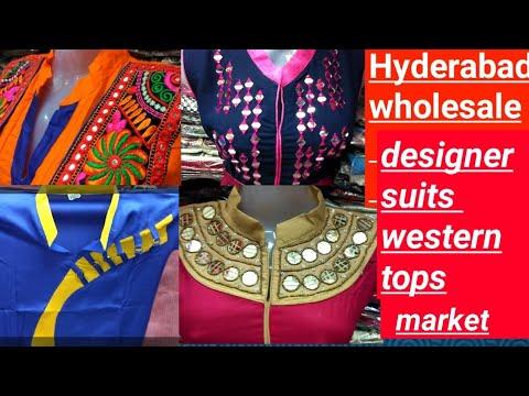 69abb2d28e7 Hyderabad wholesale market designer suits western tops - YouTube