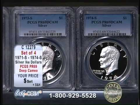 1971S to 1974S PCGS PR69 Deep Cameo Ike Dollar at Art and Coin TV
