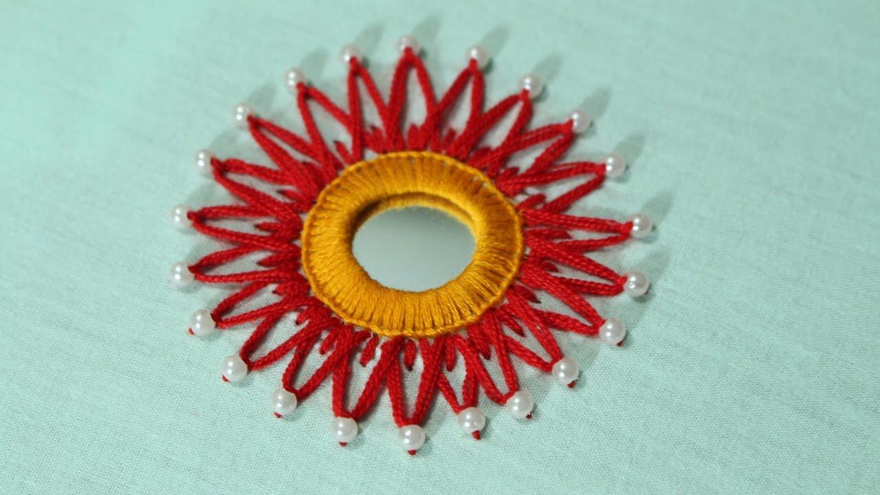 Hand embroidery designs mirror work design stitch and