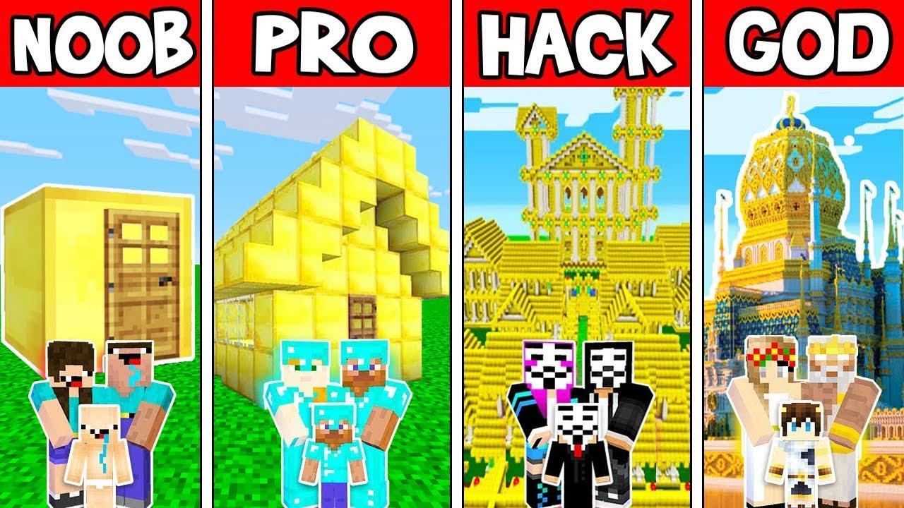 Minecraft Battle: FAMILY GOLD HOUSE BUILD CHALLENGE - NOOB vs PRO vs HACKER vs GOD / Animation