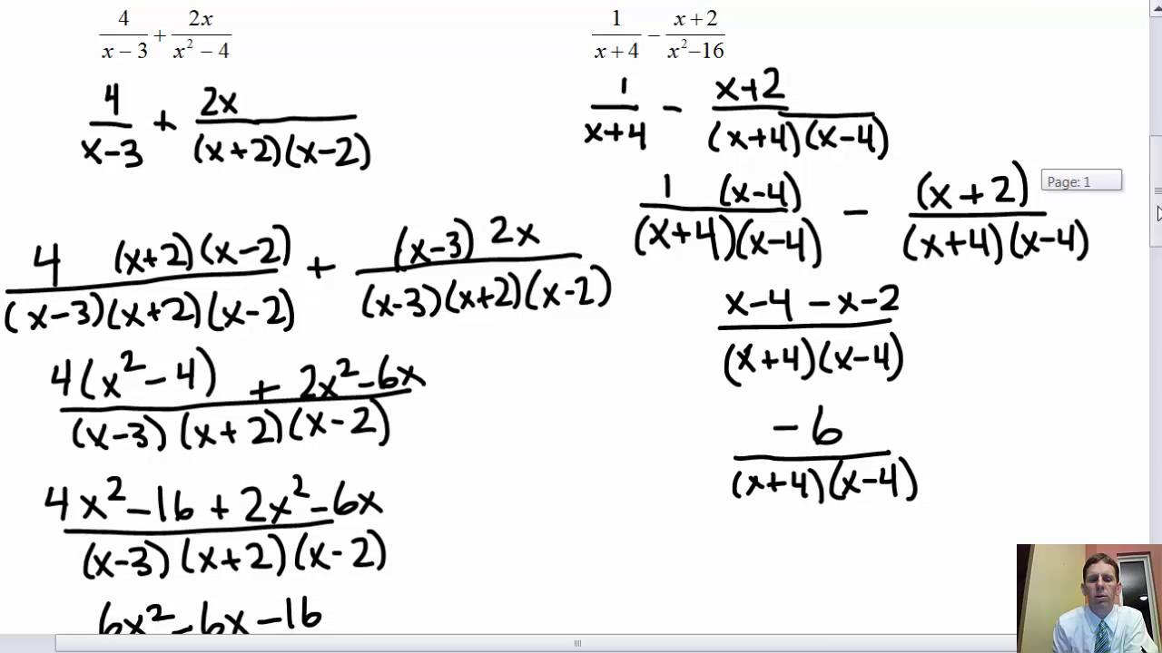 Lesson 9-5 notes: Adding and subtracting rational expressions ...