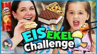Eiscreme Sandwich Ekel Challenge! Eis auf Pizza?! Geschichten und Spielzeug