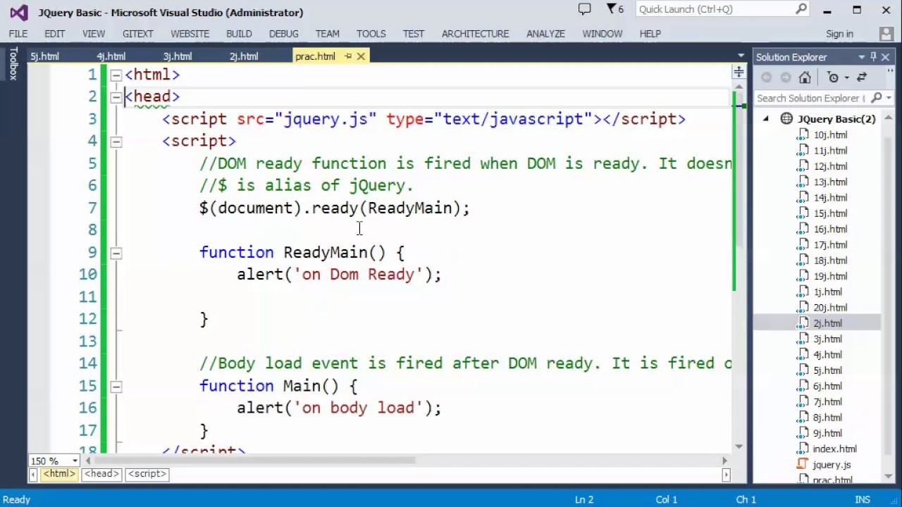 jQuery Part 20 DOM Ready vs Body Load events