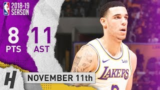 Lonzo Ball Full Highlights Lakers vs Hawks 2018.11.11 - 8 Pts, 11 Assists
