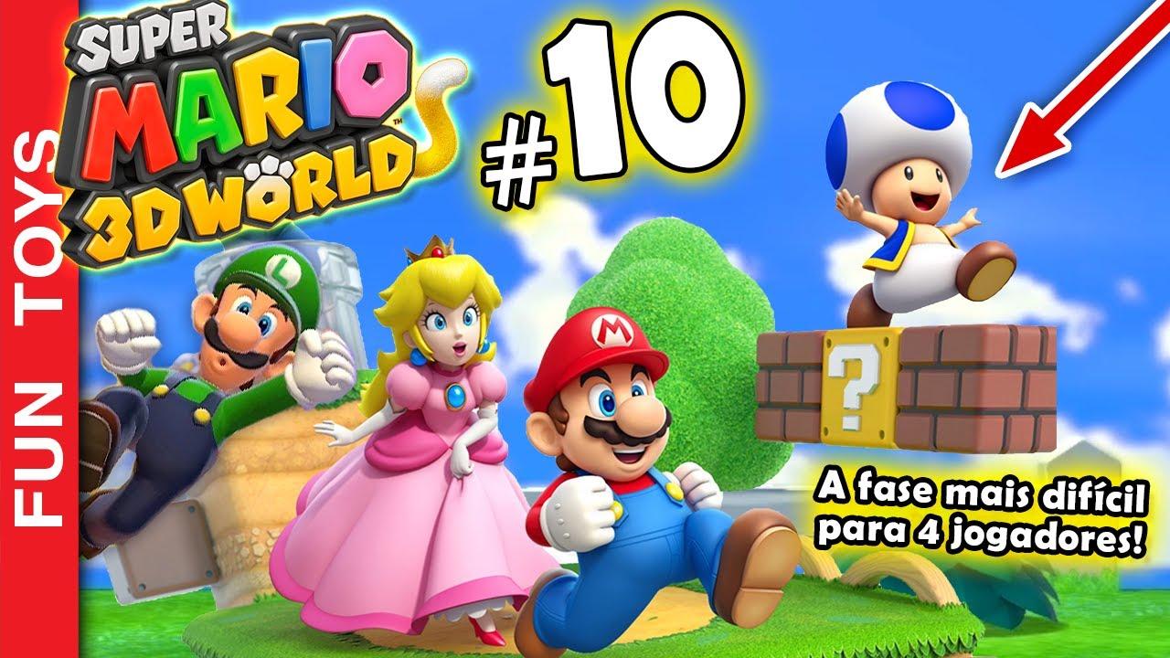 Super Mario 3d World #10 - Chegamos em uma fase quase IMPOSSÍVEL com 4 jogadores! Fica no mundo 5!