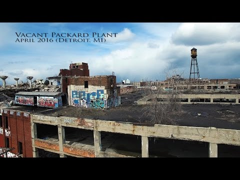 Drone Footage over Vacant Packard Plant (Detroit, MI) April 2016