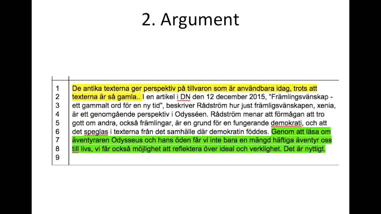 exempel på argument