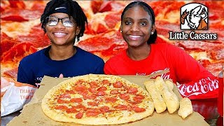 LITTLE CEASARS PIZZA MUKBANG! TEEN EATING SHOW!