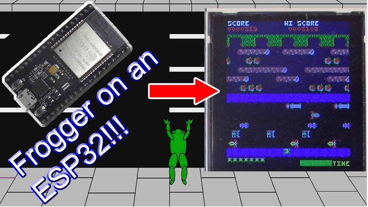 Frogger on ESP32! Drawing the main screen and moving the sprites