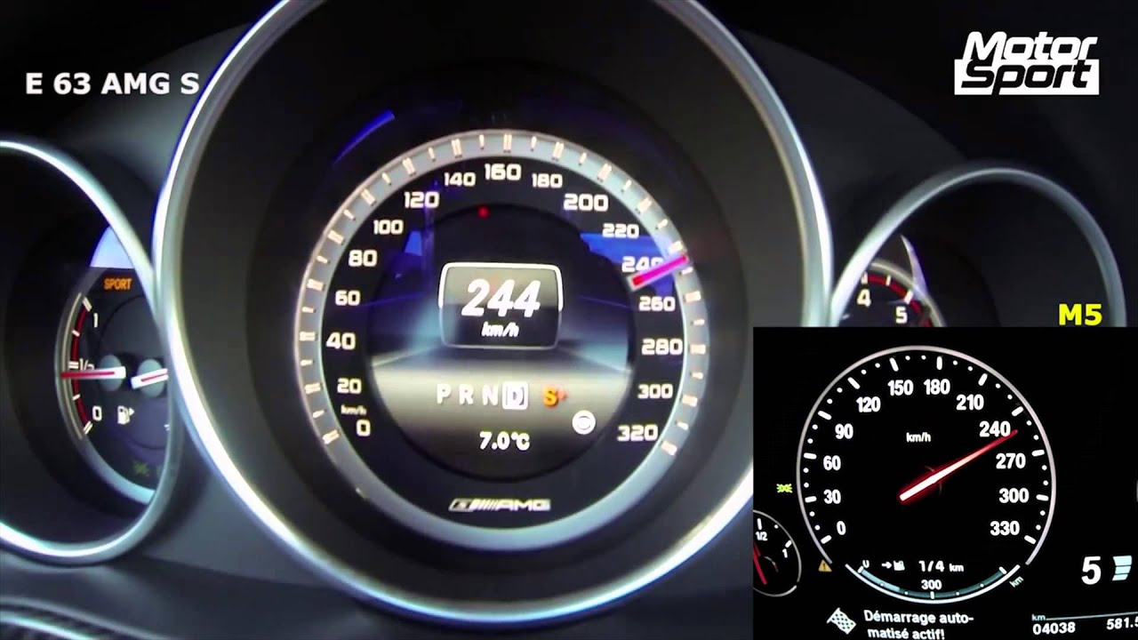 0 300 Km H Mercedes E 63 Amg S 4 Matic Vs Bmw M5 F10