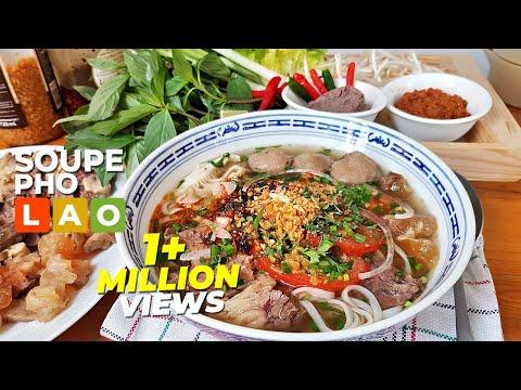 แจกสูตรวิธีทำเฝอลาวน้ำชุปหอมๆ (ก๋วยเตี๋ยวลาว) ເຝີລາວແຊບໆ - Soupe pho version Lao (FRA SUB)
